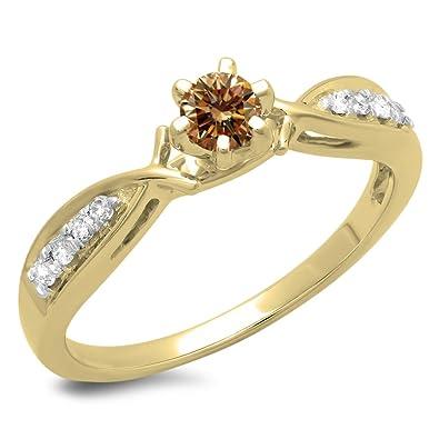 f319401fbf3 DazzlingRock Collection Femme 0.33 Carat Or 10K Diamant Rond Coupe  Champagne et Blanc mariée Solitaire Bague
