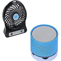 Captcha Portable 3-Level Speed Adjustable Mini USB Fan with Wireless Led Bluetooth Handfree S10 Speakers for Lenovo K8 Note and iPhone 7 Mobile