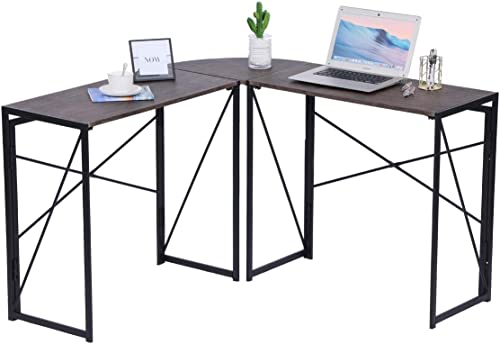 Corner Computer Desk Folding Writing Study Table Rustic Home Office Workstation Industrial L-Shaped Desk