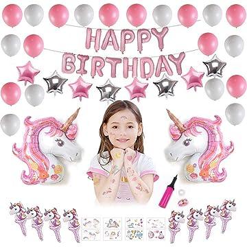 Lehoo Castle Unicorn Balloons for Birthday 50pcs, Birthday Decoration for Girls, Unicorn Birthday Party Decoration includes Unicorn Balloons, Happy Birthday Balloon, Unicorn Tattoos Temporary for Kids