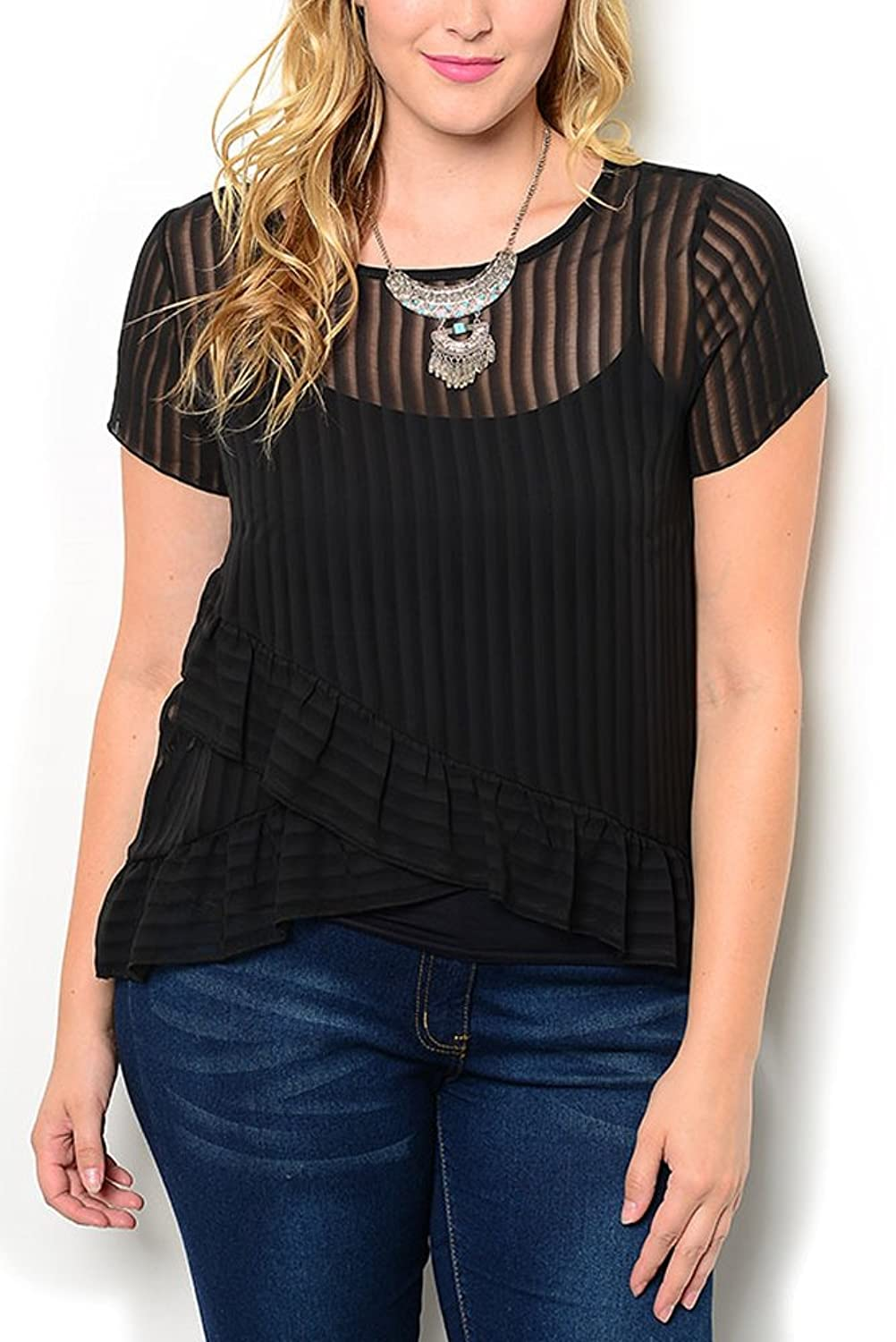 DHStyles Women's Plus Size Sheer Striped Tiered Ruffled Top