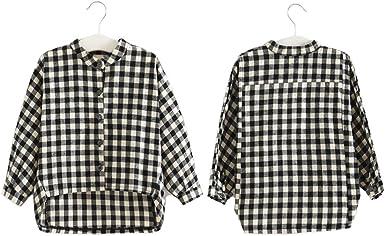 Niñas Camisa de cuadros color blanco + negro 2 – 10 años 90 – 140 cm bebé botón abajo camisa de cuadros: Amazon.es: Ropa y accesorios