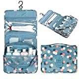 Portable Hanging Toiletry Bag,Organizer Cosmetic Bag with Hanging Hook Cherioll for vacation (One size, Blue Daisy)