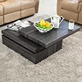 Square Wood Coffee Table SUNCOO Oak Rotating Coffee Table with 3 Layers Modern Save Place Furniture Home Square Wood