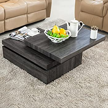 Delightful VIRREA Oak Square Rotating Wood Coffee Table With 3 Layers Home Living Room  Furniture