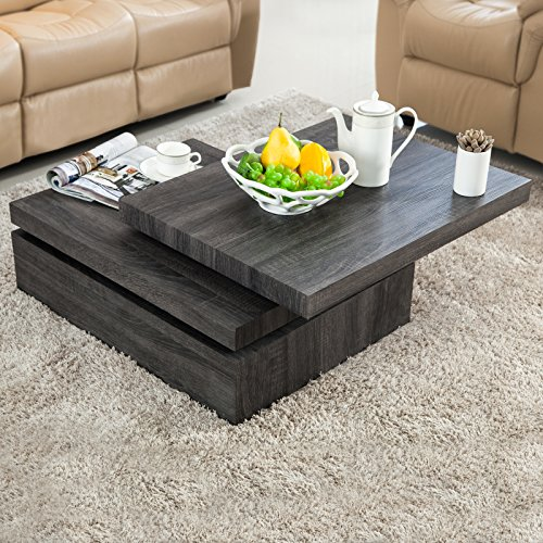 VIRREA Oak Square Rotating Wood Coffee Table with 3 Layers Home Living Room Furniture (Square Wood Coffee Table With Storage)
