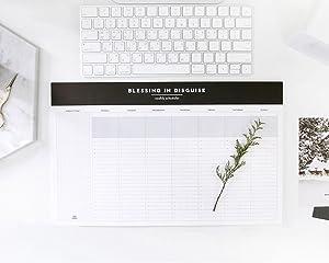 """So Chic Desktop Weekly Planner Pad Undated Calendar Desk Pad Organizer Schedule Agenda To do list notepad, 52p, 14.8"""" X 8.9"""""""