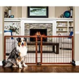 """Carlson Pet Products 2870 Freestanding/Pressure Mount Wooden Pet Gate, 40-70"""" by 28"""", Brown"""