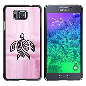 YOYOYO Smartphone Protección Defender Duro Negro Funda Imagen Diseño Carcasa Tapa Case Skin Cover Para Samsung GALAXY ALPHA G850 - tinta tortuga rosa tatuaje negro