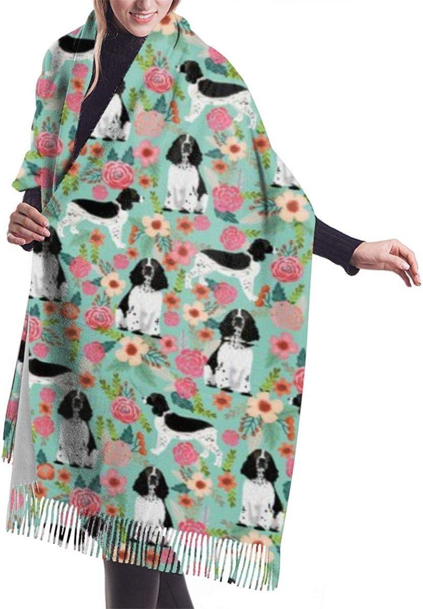 English springer spaniel dog breed florals dog Classic Winter Scarf Soft Shawl Wrap Scarves For Men Women