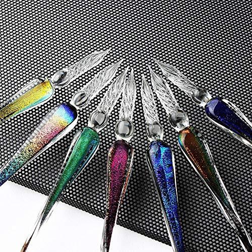 (Dip Pen Writing - Glass Pen Gold Powder Ink Pen Glass Dip Pen 12 Constellation Ink for Writing Fountain Pen Set Gift Box - Glass Dip Pen Set, A513)