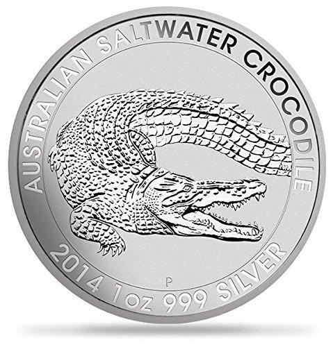 2014 AU Austrailian Crocodile Silver Coin 1 Ounce Silver Dollar Mint Uncirculated