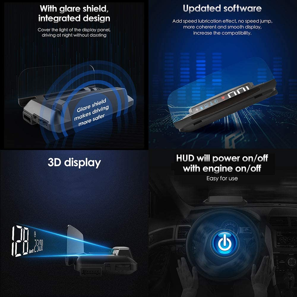 "HUD Display Car OBD2 5/"" FHD 1080P Vehicle LED Head Up Display 3D Reflection ECU Datas Display Oil//Water Temperature Speedometer Odometer Fuel Consumption Turbo Pressure Engine Fault Alarm"