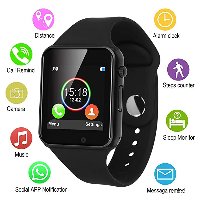 classic fit 387b3 b7b64 IOQSOF Smart Watches, Touchscreen Bluetooth Smart Watch with Camera,  Android Smartwatch, Waterproof Smart Watches Compatible Samsung iOS iPhone  X 8 7 ...