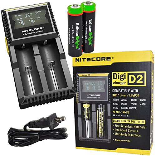 Nitecore D2 digital smart Charger with LCD display For Li-ion, IMR, LiFePO4 26650 22650 18650 17670 18490 17500 18350 16340 RCR123 14500 10440 Ni-MH And Ni-Cd AA AAA AAAA C Rechargeable Batteries with 2 X EdisonBright Ni-MH rechargeable AA batteries bundle