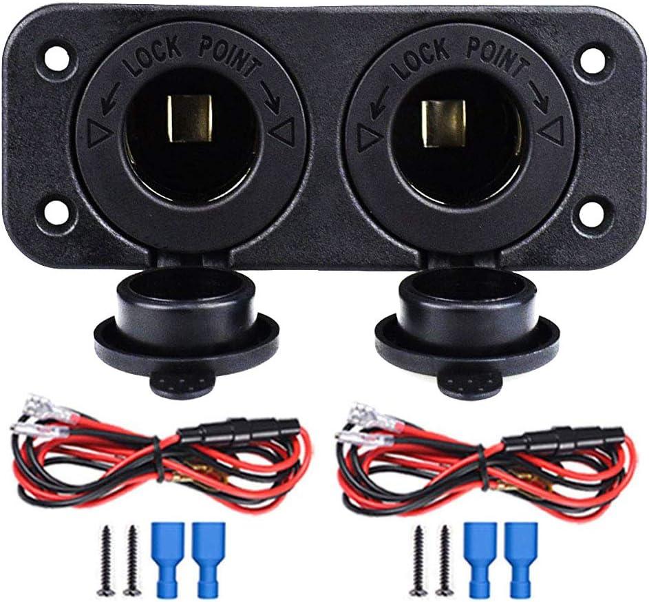 Cigarette Lighter Socket Charger Socket adapter Car Power Outlet Socket Receptacle 12V 24V Waterproof Plug Dual Plate Panel Mount By ZHSMS