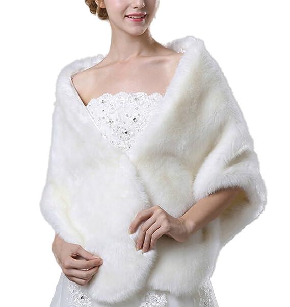 Icegrey Mujer Chal Estola Bufanda De Piel Sintéica Para Vestido De Fiesta Boda Invierno Bianco: Amazon.es: Ropa y accesorios
