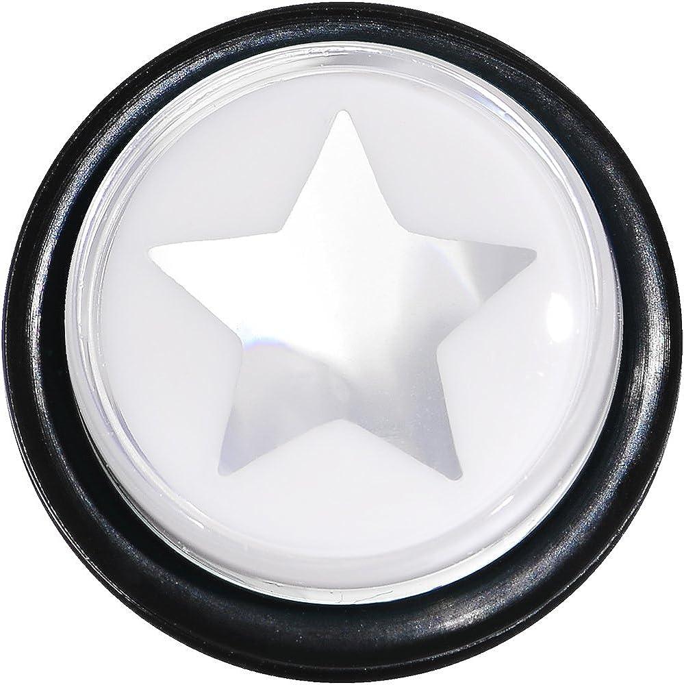 1 Piece Body Candy 9//16 Clear White Acrylic Wish on a Star Taper Ear Gauge Plug