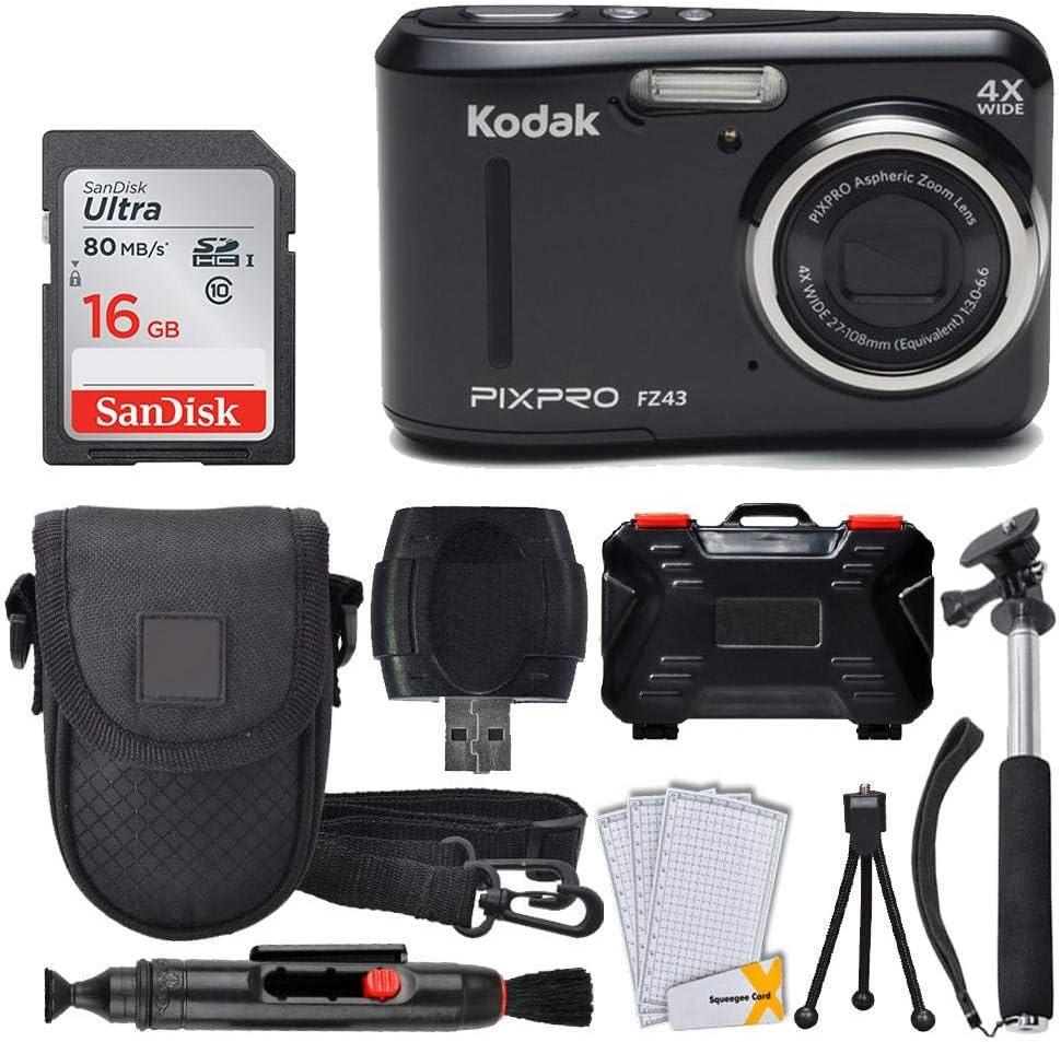 Kodak PIXPRO FZ43 16.15MP Digital Camera with 4X Optical Zoom + SanDisk 16GB Ultra SDHC 80MB/s Memory Card (Class 10) + Point & Shoot Camera Case + Extendable Monopod + Accessories (Black)