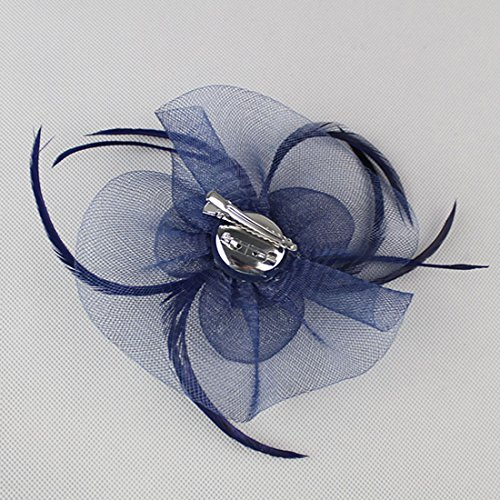 Free Yoka Womens Fascinators Feather Pillbox Hat Cute Beads for Cocktail Kentucky Derby Ball Wedding Church Party (Navy) by Free Yoka (Image #4)