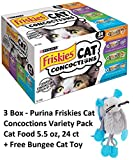 Friskies Wet Cat Food, Cat Concoctions, 4-Flavor Variety Pack, 5.5-Ounce Can by Purina Friskies (3 Box + Free Toy)