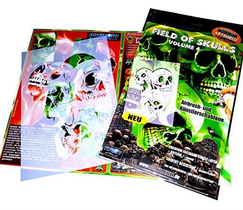 Schneidmeister Airbrush Stencil FIELD OF SKULLS Volume 4, Mylar Template, two layer single Quickstep, EZ SuperStencil, SM-FOS004