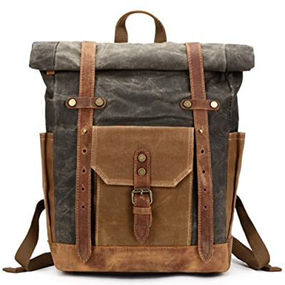 Mwatcher Canvas Leather Backpack Waterproof Rucksack