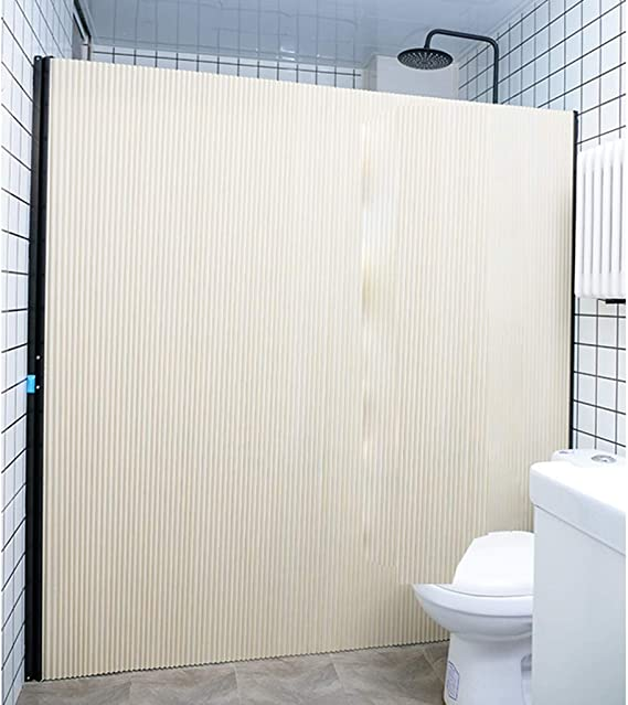 SPARROW Cortina de Ducha Plegable Baño Invisible Puerta corredera Sin punzón de Aislamiento Impermeable antimoho antiestático (Color : Beige+Black Frame, Size : 150cm): Amazon.es: Hogar