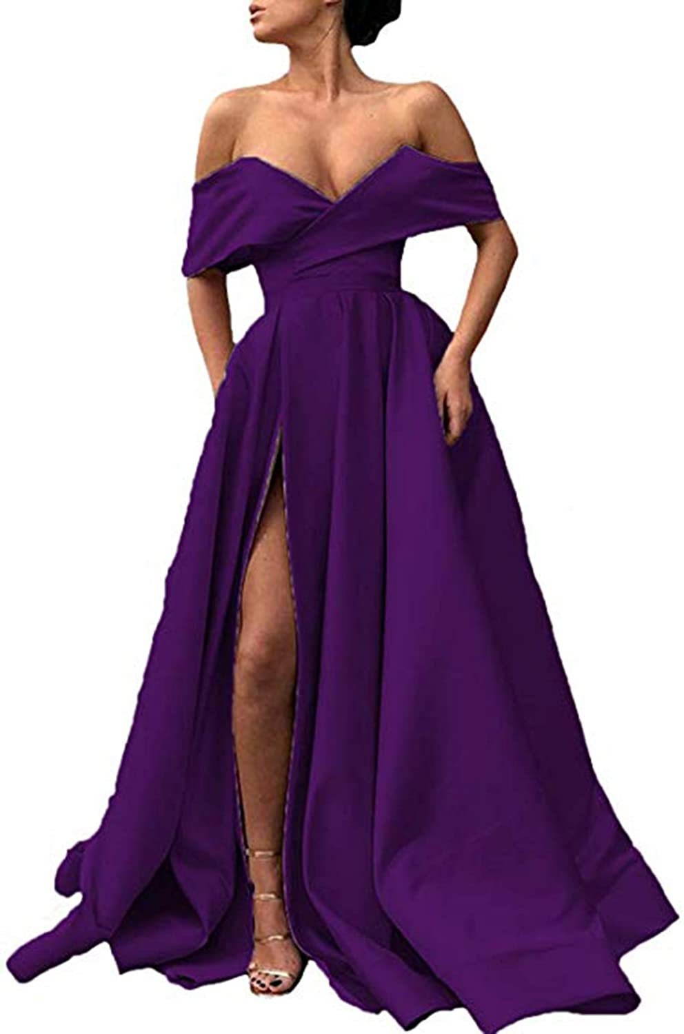 Purple Ri Yun Womens Off The Shoulder Prom Dresses Long Split 2019 ALine Satin Formal Evening Ball Gowns with Pockets