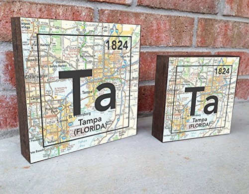 Tampa Florida Ta City Vintage Periodic Chart Map Art Print on Wooden Block, Home & Wall Decor, Wedding-Housewarming - Birthday - Valentines Day - Christmas gift for her Block City Map Art