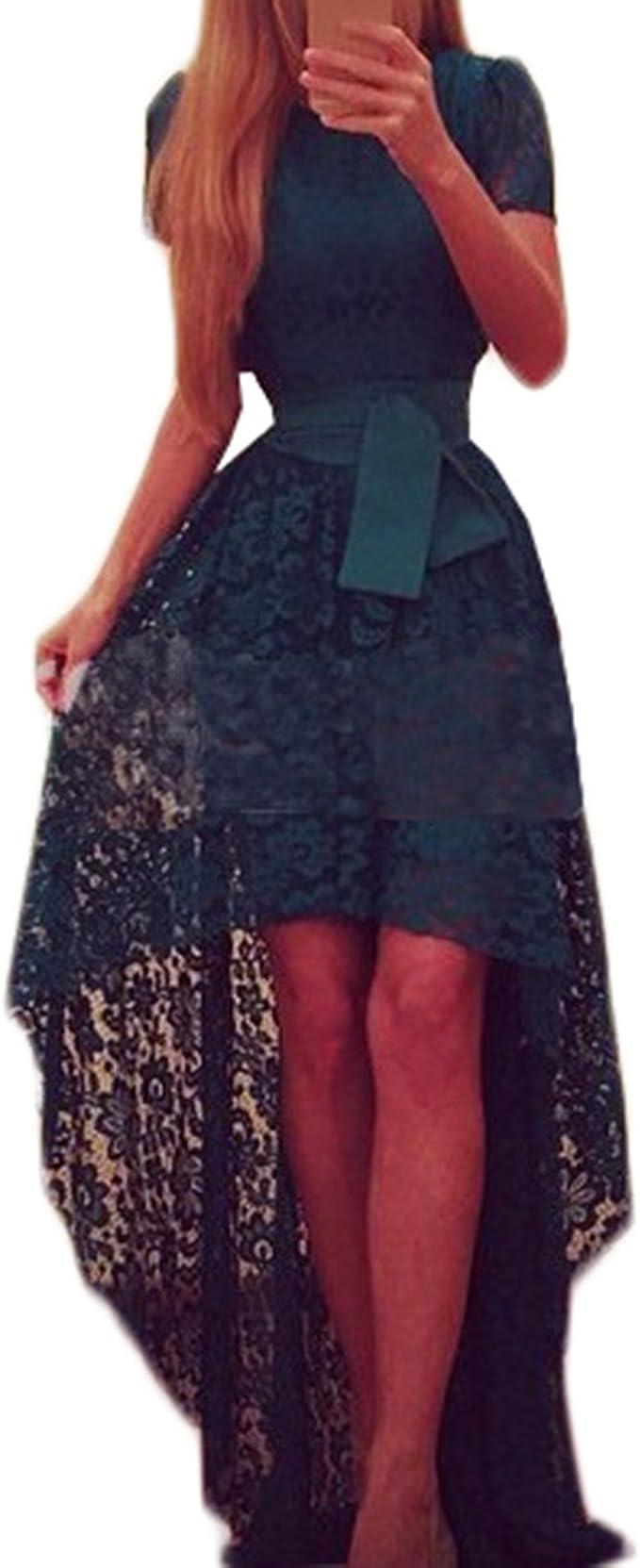 Tomayth Damen Elegant Kurzarm Spitzenkleid Festkleid Kleid Vorne