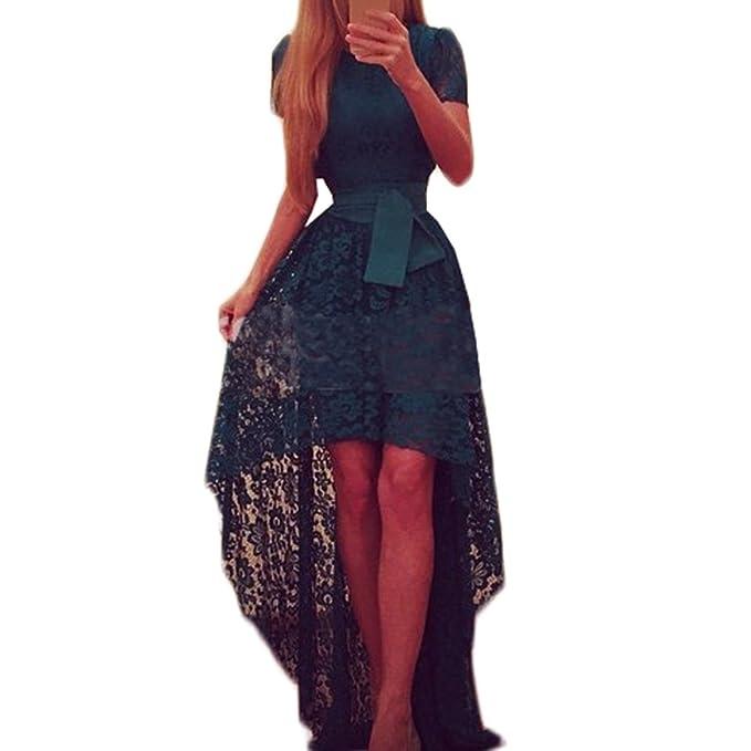 e2fc42261bf169 Tomayth Damen Elegant kurzarm Spitzenkleid Festkleid Kleid Vorne kurz  Hinten Lang Abendkleid Cocktailkeid Sommerkleid Asymmetrisch Spitze