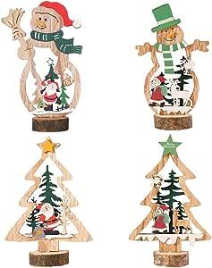 Amosfun 4 peças de enfeite de mesa de madeira de Natal