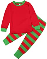 Jingjing1 Family Pajama Set, Cute Christmas Long Sleeve Top and Striped Pants PJS Sets Sleepwear