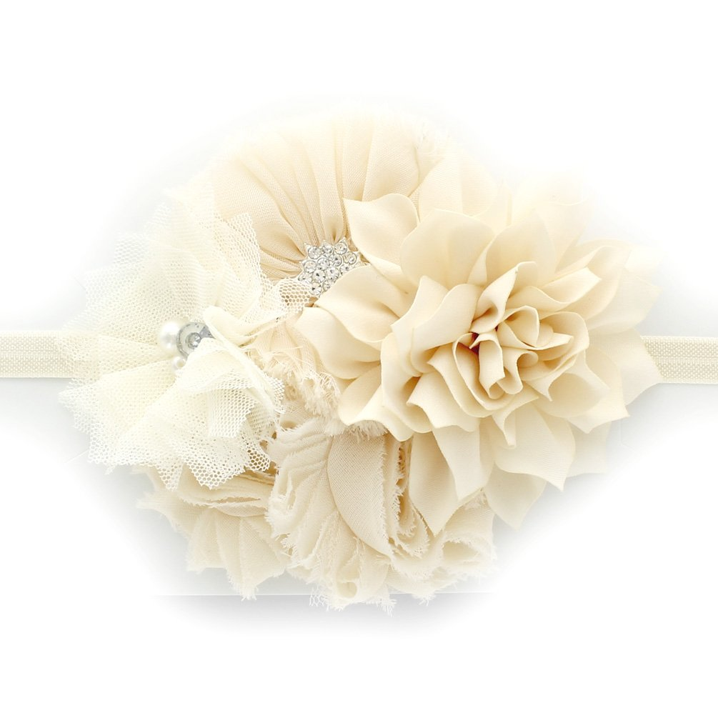 My Lello Infant Baby Headband Shabby Fabric Flower Cluster (Ivory)