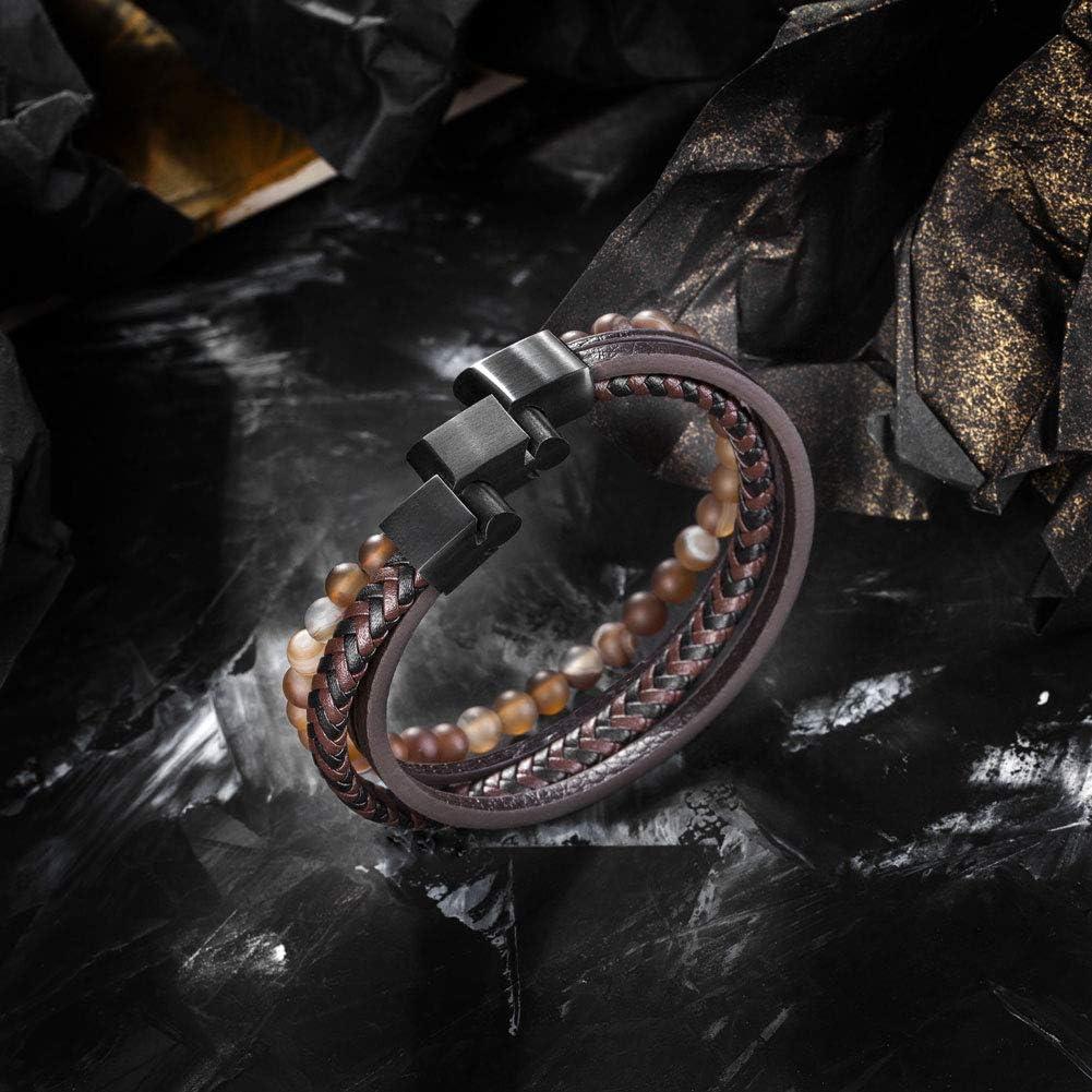 murtoo Homme Cuir V/éritable Bracelet et Acier Inoxydable Bracelet Multi Tiss/é R/églable Noir ou Marron Cuir Bracelet pour Les Hommes