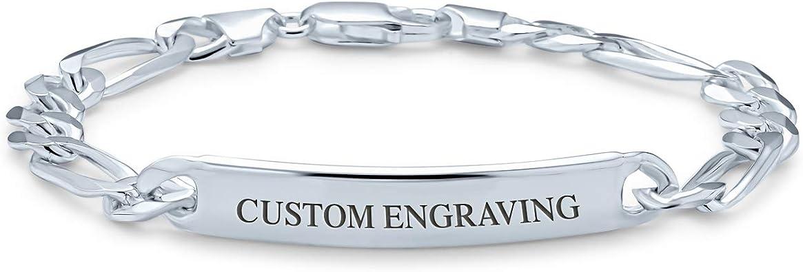 Custom Engraved Sterling Silver Women/'s Figaro Link ID Bracelet