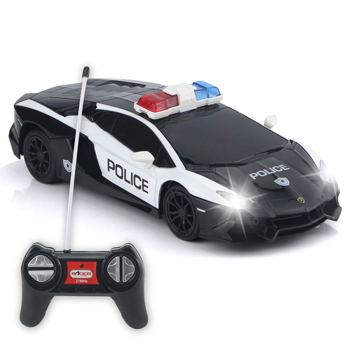 QUN FENG Remote Control Car Authorized by Lamborghini RC Police Car Electric Cop Car Toys for 6 Year Old Boys Gifts