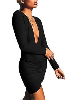 68c89790c8 UZZDSS Women s Deep V Neck Hollow Backless Bodycon Dress Long Sleeve Sexy  Club Party Dresses