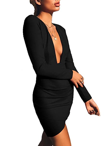 4b92c2b24184 UZZDSS Black-S Women s Deep V Neck Hollow Backless Bodycon Dress Long  Sleeve Sexy Club