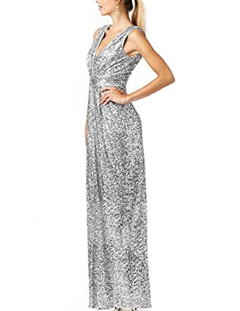 Cdress Sequins Long Bridesmaid Dresses V-Neck Evening Gowns Maxi Prom Gowns Plus Size Silver