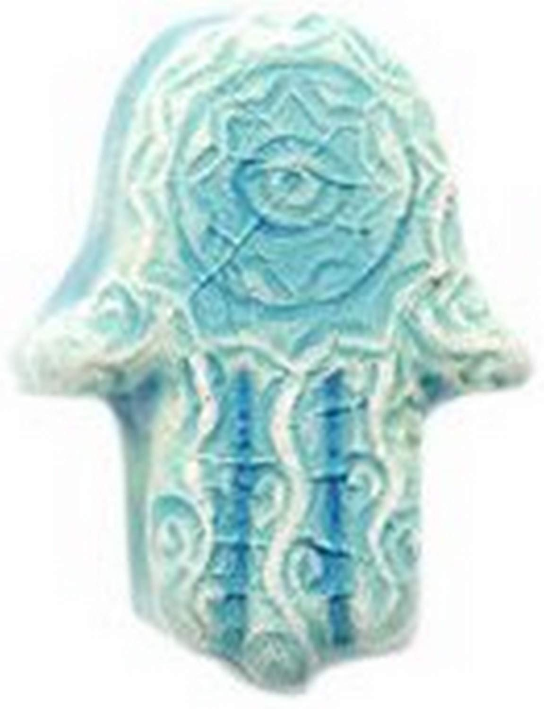 4 Per Pack Shipwreck Peruvian Hand Crafted Ceramic Raku Glazed Hamsa Hand Beads 14mm