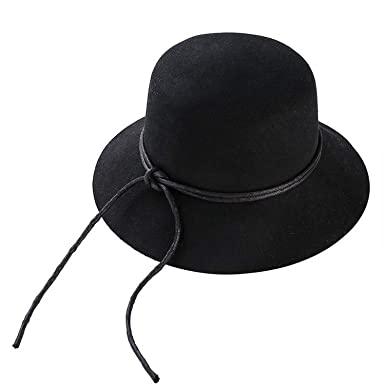 Fashion Wool Womens Crushable Genuine Felt Fedora Bush Sun Hat Trilby Gorra Toca Sombrero with Cowhide Rope at Amazon Womens Clothing store: