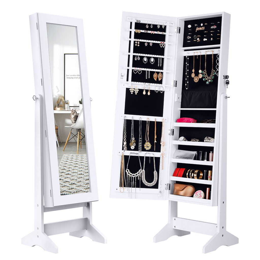 Free Standing Jewelry Cabinet Lockable Full Length