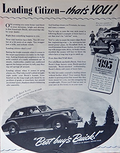 1940 Buick, 40's Print ad. Full Page B&W Illustration (buick super 4-door touring sedan) Original Vintage 1940 The Saturday Evening Post Magazine Print Art - Olds Touring Sedan