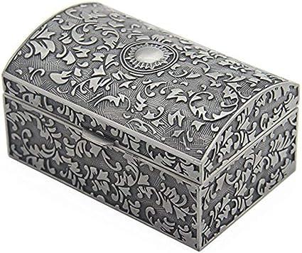 Joyero Organizador Rectángulo Caja de joyería de metal vintage Joyas Baratija Cajas de regalo Organizador Caja de anillo de cofre for niñas Damas Mujeres para Anillos Pendientes Collar Bisuterías Joya: Amazon.es: Belleza