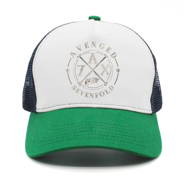 44066fa019480 Amazon.com  GBJDFHF Mens Woman Green Adjustable Trucker Hat avenged- sevenfold-A7X-logo- 3D Printing Baseball Hat  Clothing