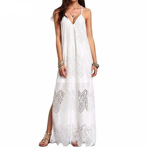 BBsmile 💖Vestido para Mujer Mujeres Casual Elegante Bohemio Algodón Vestido Suelto Largo Playa Cuello V
