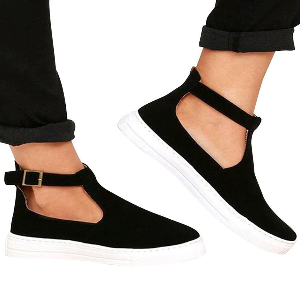 Fheaven Women Vintage Sneaker Shoes Round Toe Platform Flat Heel Buckle Strap Casual Shoes (US:9, Black(Suede Style))