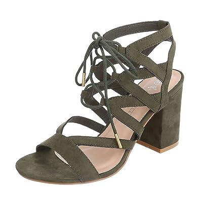 Ital Design High Heel Sandaletten Damenschuhe Pump Riemchen Schnalle Sandalen &